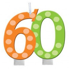 60th Birthday Bright and Bold Molded Numeral Candle