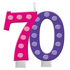70th Birthday Bright and Bold Molded Numeral Candle