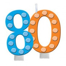 80th Birthday Bright and Bold Molded Numeral Candle