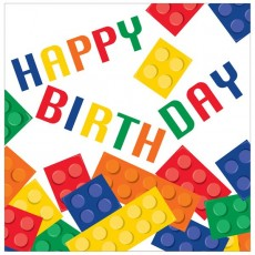 Block Party Party Supplies - Lunch Napkins Happy Birthday