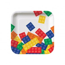 Block Party Party Supplies - Lunch Plates Paper