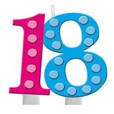18th Birthday Bright and Bold Molded Numeral Candle