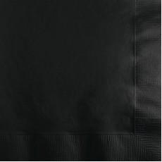 Square Black Velvet Beverage Napkins 25cm x 25cm Pack of 50