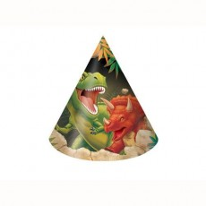 Dinosaur Dino Blast Cone Party Hats Child Size Pack of 8