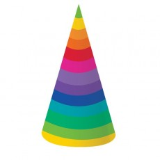 Rainbow Cone Party Hats 18cm Pack of 8