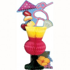 Hawaiian Luau Tropical Drink Honeycomb Centrepiece