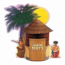 Hawaiian Luau Tiki Hut Honeycomb Centrepiece