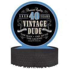 Vintage Dude Honeycomb 40th Birthday Centrepiece