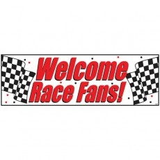 Black & White Check Giant Welcome Race Fans! Banner 51cm x 152cm