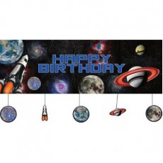 Space Blast Party Decorations - Banner Giant Happy Birthday