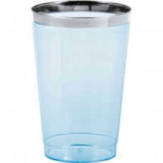 Blue Tumblers with Silver Metallic Rim Plastic Cups