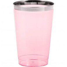 Pink Tumblers with Silver Metallic Rim Plastic Cups