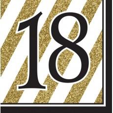 18th Birthday Black & Gold  Lunch Napkins