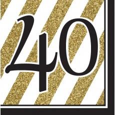40th Birthday Black & Gold  Lunch Napkins