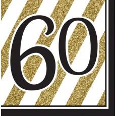 60th Birthday Black & Gold  Lunch Napkins