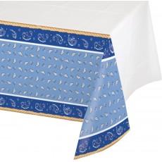 Blue Bandana Cowboy Plastic Table Cover