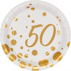 50th Birthday Gold Sparkle & Shine Paper Lunch Plates