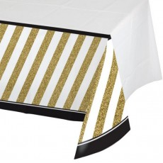 Gold Black &  Plastic Table Cover