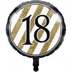 18th Birthday Black & Gold  Foil Balloon