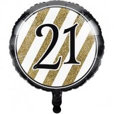 21st Birthday Black & Gold  Foil Balloon