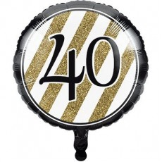 40th Birthday Black & Gold  Foil Balloon