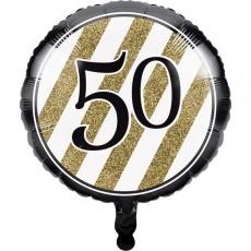 50th Birthday Black & Gold  Foil Balloon