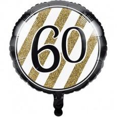60th Birthday Black & Gold  Foil Balloon