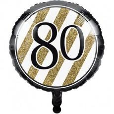 80th Birthday Black & Gold  Foil Balloon