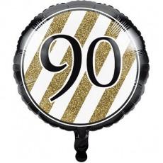 90th Birthday Black & Gold  Foil Balloon