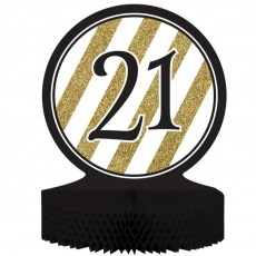 21st Birthday Black & Gold Honeycomb Centrepiece