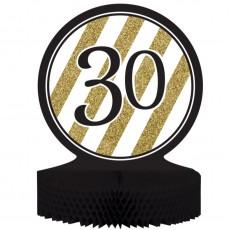30th Birthday Black & Gold Honeycomb Centrepiece