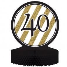 40th Birthday Black & Gold Honeycomb Centrepiece