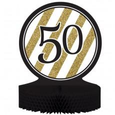 50th Birthday Black & Gold Honeycomb Centrepiece