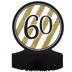 60th Birthday Black & Gold Honeycomb Centrepiece