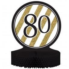 80th Birthday Black & Gold Honeycomb Centrepiece