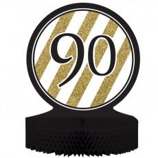 90th Birthday Black & Gold Honeycomb Centrepiece