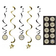 Gold Black & Dizzy Dangler Swirl Hanging Decorations