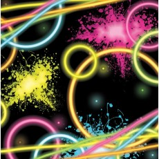 Happy Birthday Glow Party Lunch Napkins 33cm x 33cm Pack of 16