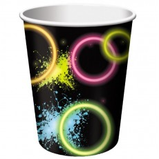 Happy Birthday Glow Party Paper Cups 266ml Pack of 8