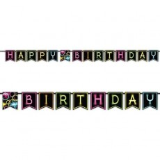Happy Birthday Glow Party Ribbon Pennant Banner