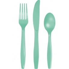 Fresh Mint Green Plastic Cutlery Sets Pack of 24