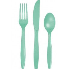 Green Fresh Mint Plastic Cutlery Sets