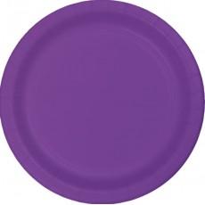 Round Amethyst Purple Paper Dinner Plates 23cm Pack of 24