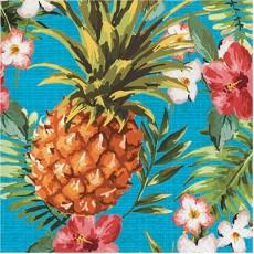 Hawaiian Aloha Luau Pineapple & Flowers Lunch Napkins