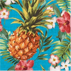 Hawaiian Luau Aloha Luau Pineapple & Flowers Lunch Napkins