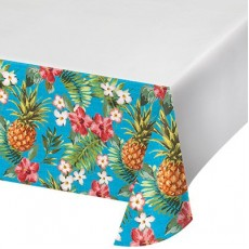 Hawaiian Aloha Luau Pineapples & Flowers Plastic Table Cover