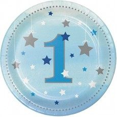 Round Boy One Little Star Paper 1 Lunch Plates 18cm Pack of 8