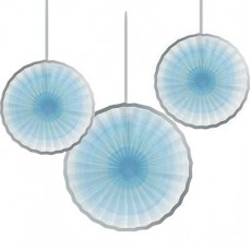 Round Boy One Little Star Tissue Paper Fan Hanging Decorations Pack of 3