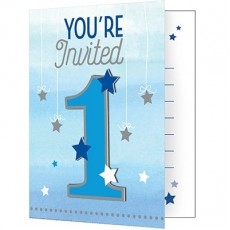 Boy One Little Star Invitations 12cm x 10cm Pack of 8