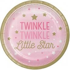 Girl One Little Star Twinkle Twinkle Paper Dinner Plates